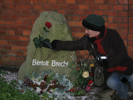 Barbara MacKenzie-Wood at Brecht's Grave on Christmas Eve. 2009